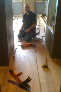 Summers Flooring. Despite his violent strength, Jeff is the most careful woodworker! Floors by Summers. Wood sourced by me!