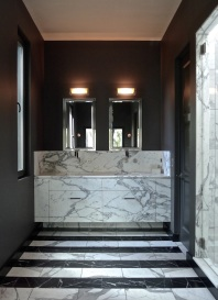 The master bath vanity, all clad in Statuario marble.
