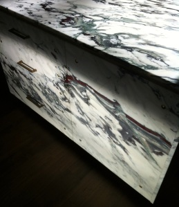 Pavonazzetto marble cabinet